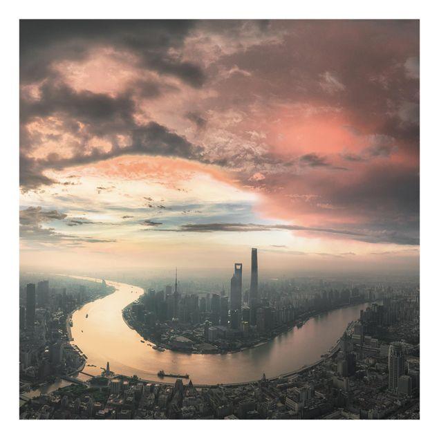 Glas Spritzschutz - Shanghai am Morgen - Quadrat - 1:1