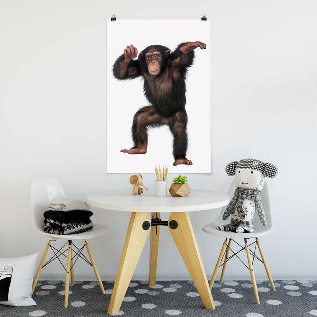Poster - Vergnügter Affe - Hochformat 3:2
