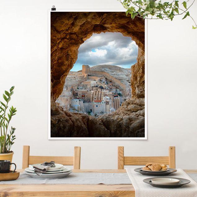 Poster - Blick auf ein Kloster - Hochformat 3:4