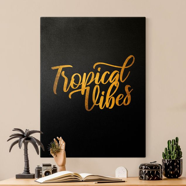 Leinwandbild Gold - Gold - Tropical Vibes auf Schwarz - Hochformat 3:4
