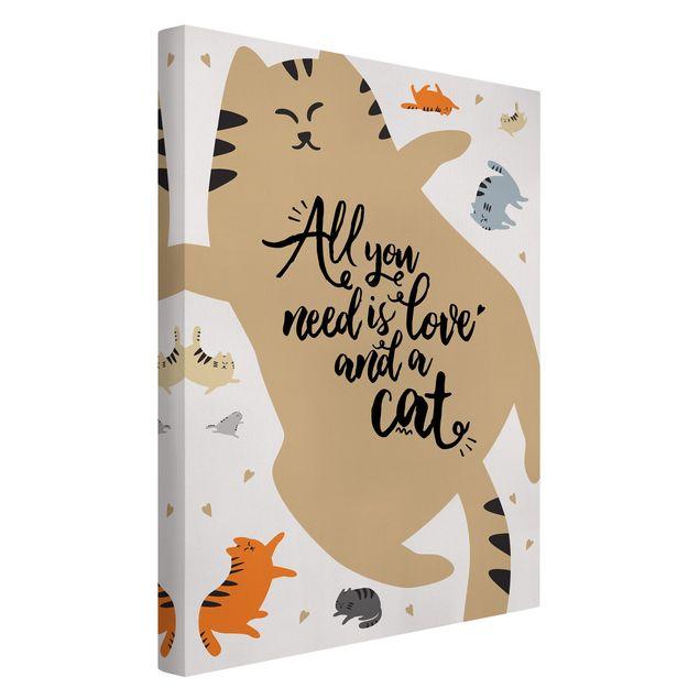 Leinwandbild - All you need is love and a cat Katzenbauch - Hochformat 2:3
