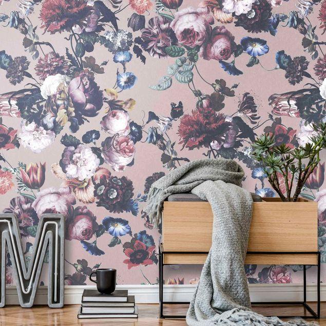 Metallic Tapete - Altmeisterliche Blüten mit Tulpen und Rosen auf Beige
