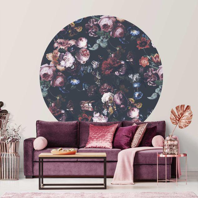 Runde Tapete selbstklebend - Altmeisterliche Blüten mit Tulpen und Rosen auf Dunkelgrau