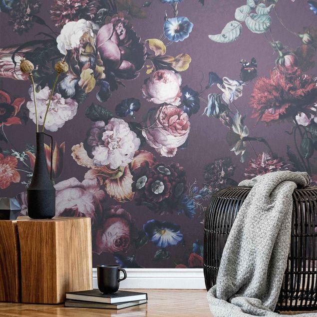 Metallic Tapete - Altmeisterliche Blüten mit Tulpen und Rosen auf Lila