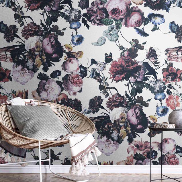 Metallic Tapete - Altmeisterliche Blüten mit Tulpen und Rosen auf Weiß