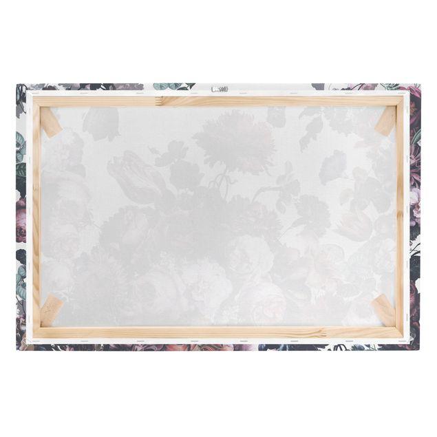 Leinwandbild - Altmeisterlicher Blumenrausch mit Rosen Bouquett - Querformat 3:2