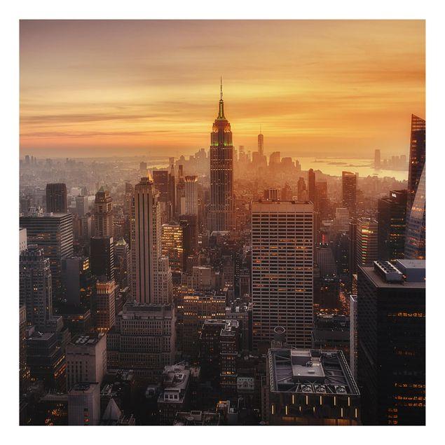 Aluminium Print - Manhattan Skyline Abendstimmung - Quadrat 1:1