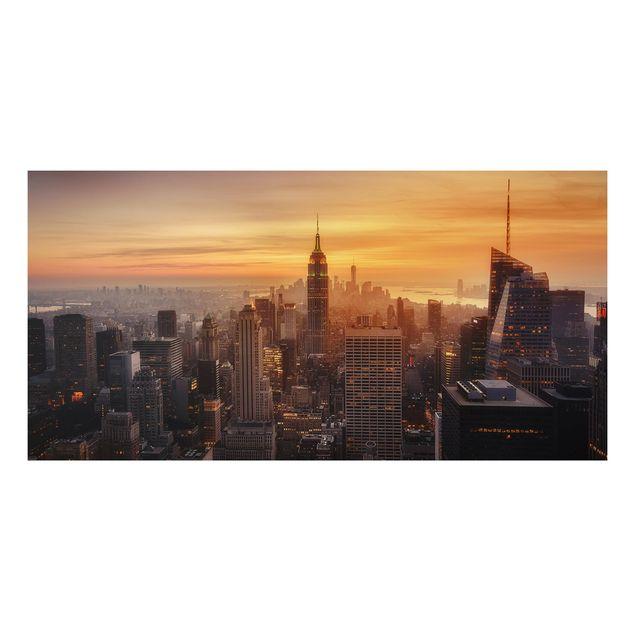 Aluminium Print - Manhattan Skyline Abendstimmung - Querformat 1:2