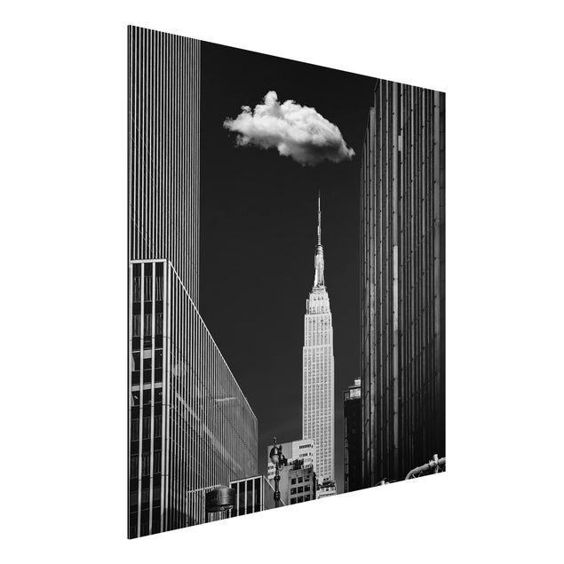 Aluminium Print - New York mit einzelner Wolke - Quadrat 1:1