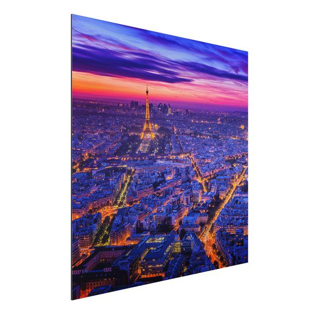 Aluminium Print - Paris bei Nacht - Quadrat 1:1