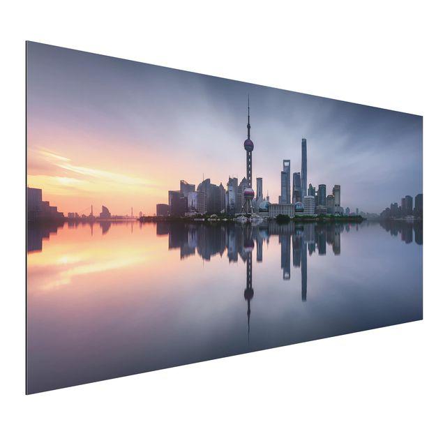 Aluminium Print - Shanghai Skyline Morgenstimmung - Querformat 1:2