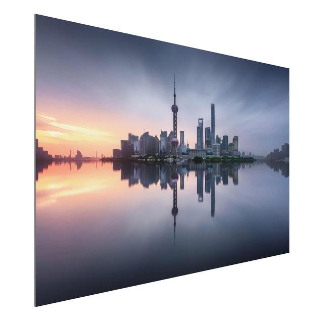 Aluminium Print - Shanghai Skyline Morgenstimmung - Querformat 2:3