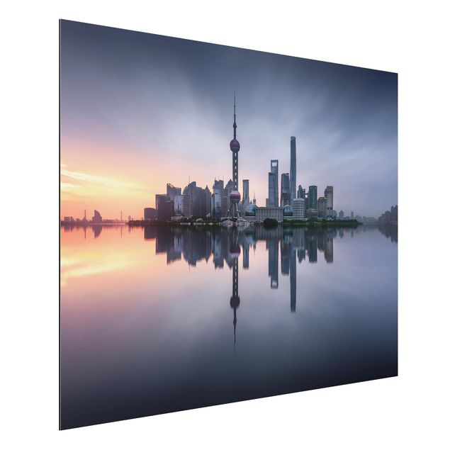 Aluminium Print - Shanghai Skyline Morgenstimmung - Querformat 3:4