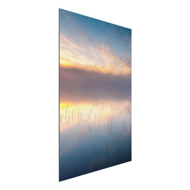 Aluminium Print - Sonnenaufgang schwedischer See - Hochformat 3:2