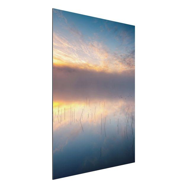 Aluminium Print - Sonnenaufgang schwedischer See - Hochformat 4:3