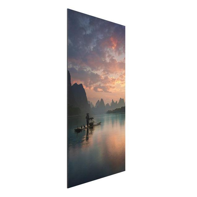 Aluminium Print - Sonnenaufgang über chinesischem Fluss - Hochformat 2:1