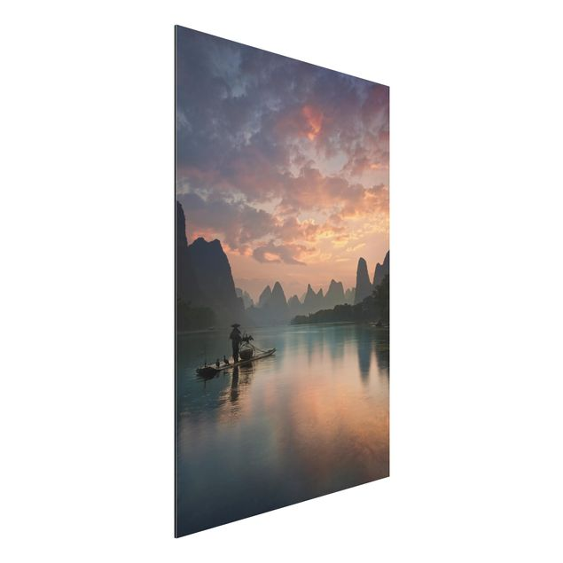 Aluminium Print - Sonnenaufgang über chinesischem Fluss - Hochformat 3:2