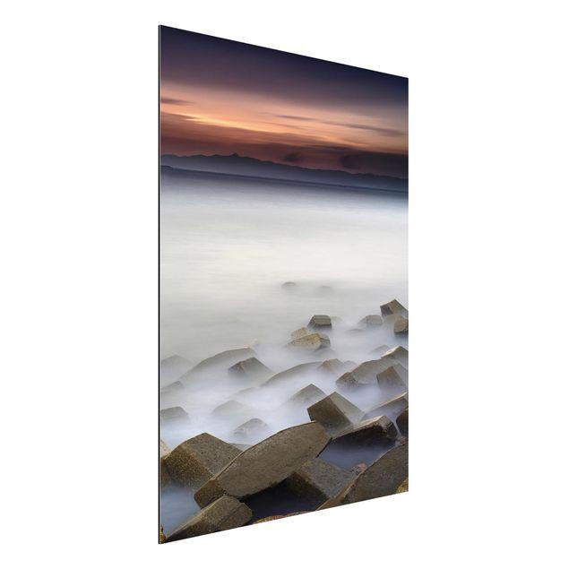Aluminium Print - Sonnenuntergang im Nebel - Hochformat 4:3