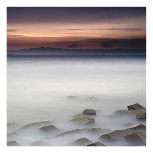 Aluminium Print - Sonnenuntergang im Nebel - Quadrat 1:1