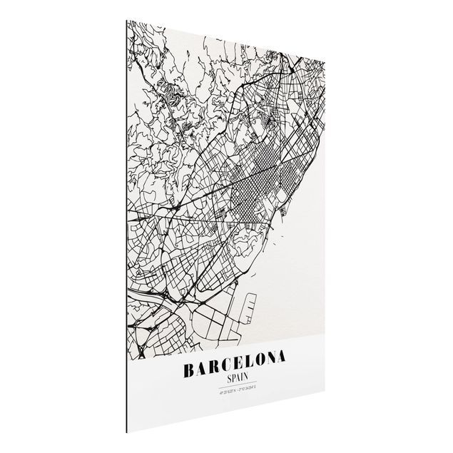 Alu-Dibond Bild - Stadtplan Barcelona - Klassik