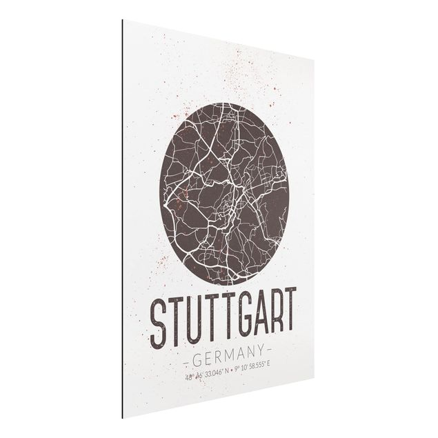 Alu-Dibond Bild - Stadtplan Stuttgart - Retro