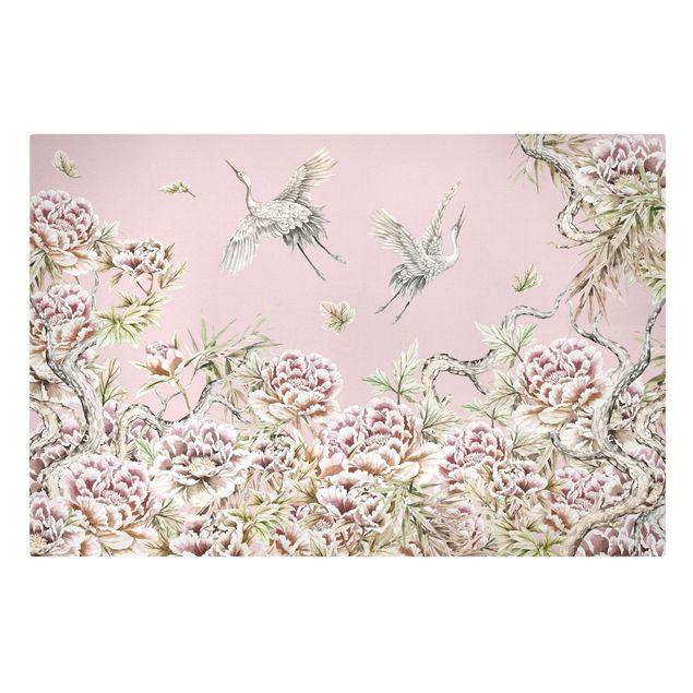 Leinwandbild - Aquarell Störche im Flug mit Rosen auf Rosa - Querformat 3:2