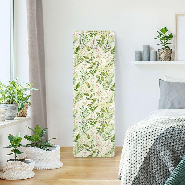 Garderobe - Aquarellblätter mit goldenen Kristallen