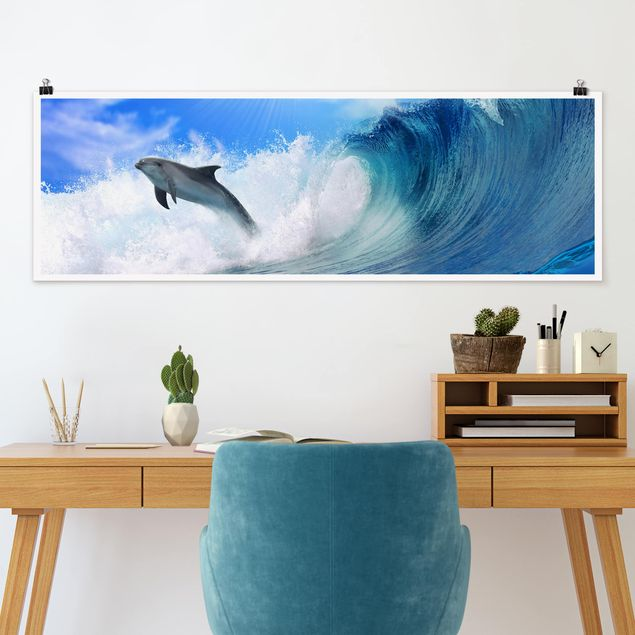 Poster - Playing Dolphins - Panorama Querformat