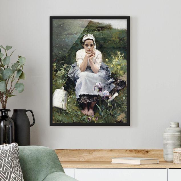 Bild mit Rahmen - Joaquin Sorolla - Das Milchmädchen - Hochformat 3:4