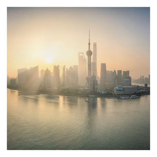Leinwandbild - Pudong bei Sonnenaufgang - Quadrat 1:1