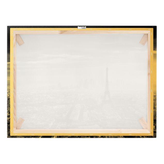 Leinwandbild Gold - Der Eiffelturm von Oben Schwarz-weiß - Querformat 4:3