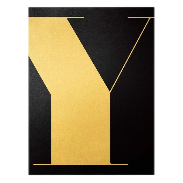 Leinwandbild Gold - Antiqua Letter Y Schwarz - Hochformat 3:4