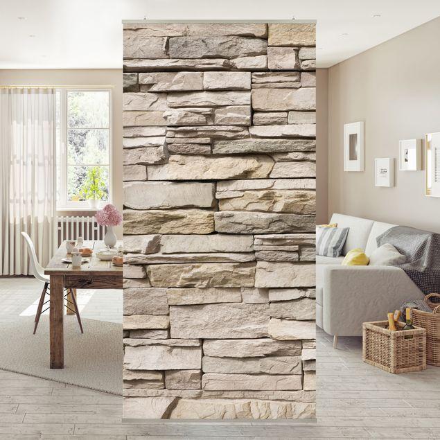 Raumteiler - Asian Stonewall - Steinmauer aus großen hellen Steinen 250x120cm