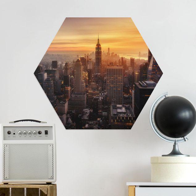Hexagon Bild Alu-Dibond - Manhattan Skyline Abendstimmung