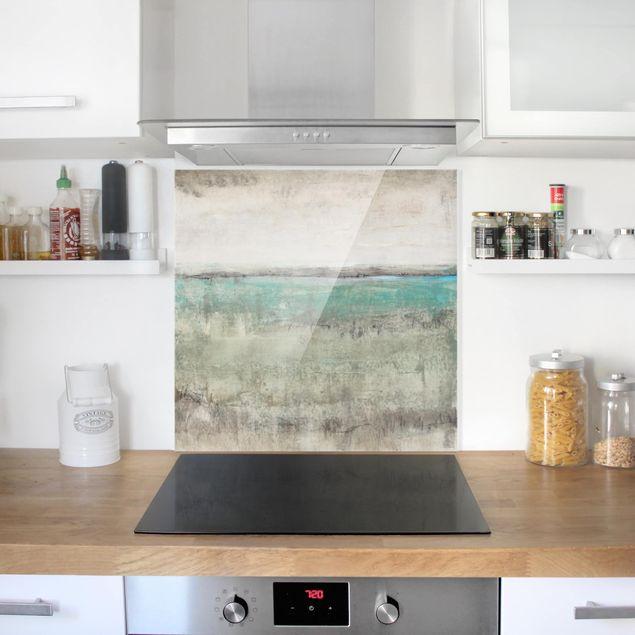 Glas Spritzschutz - Horizont über Türkis I - Quadrat - 1:1