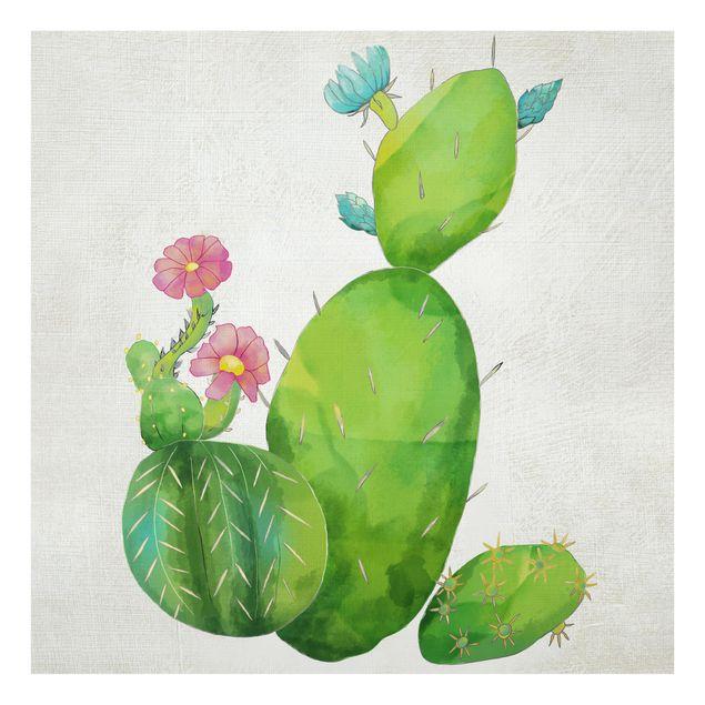 Glas Spritzschutz - Kaktusfamilie rosa türkis - Quadrat - 1:1