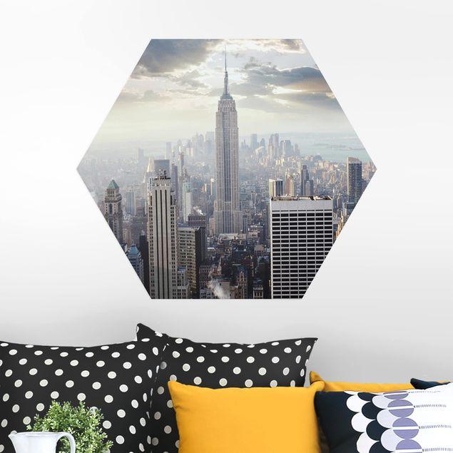 Hexagon Bild Alu-Dibond - Sonnenaufgang in New York