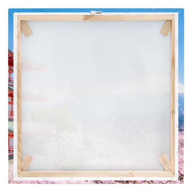 Leinwandbild - Chureito Pagode und Fuji - Quadrat 1:1