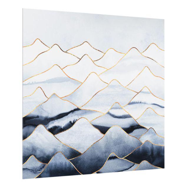 Glas Spritzschutz - Aquarell Berge Weiß Gold - Quadrat - 1:1