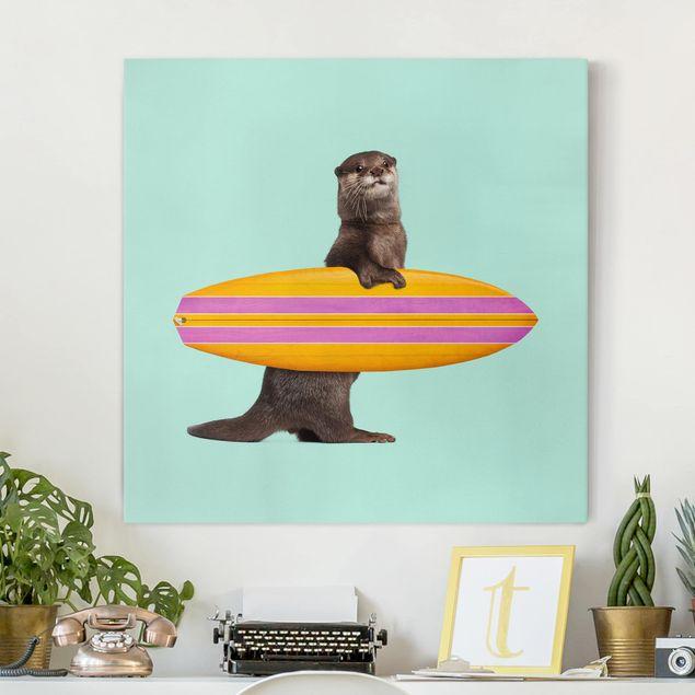 Leinwandbild - Jonas Loose - Otter mit Surfbrett - Quadrat 1:1