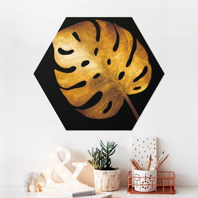Hexagon Bild Alu-Dibond - Gold - Monstera auf Schwarz