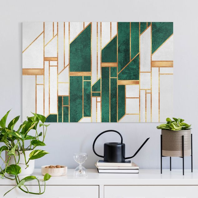 Leinwandbild - Elisabeth Fredriksson - Emerald und Gold Geometrie - Querformat 3:2
