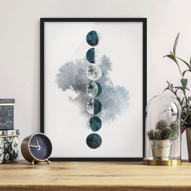 Bild mit Rahmen - Die Mondphasen - Hochformat 3:4