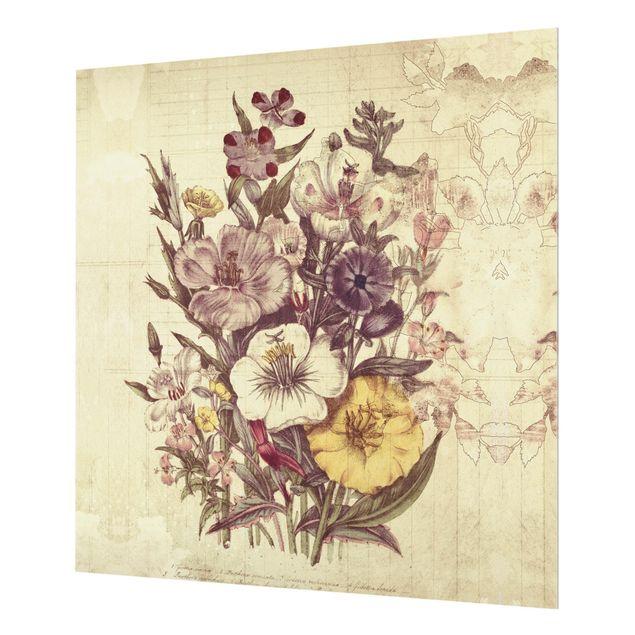 Glas Spritzschutz - Vintage Letter Blumenstrauss - Quadrat - 1:1