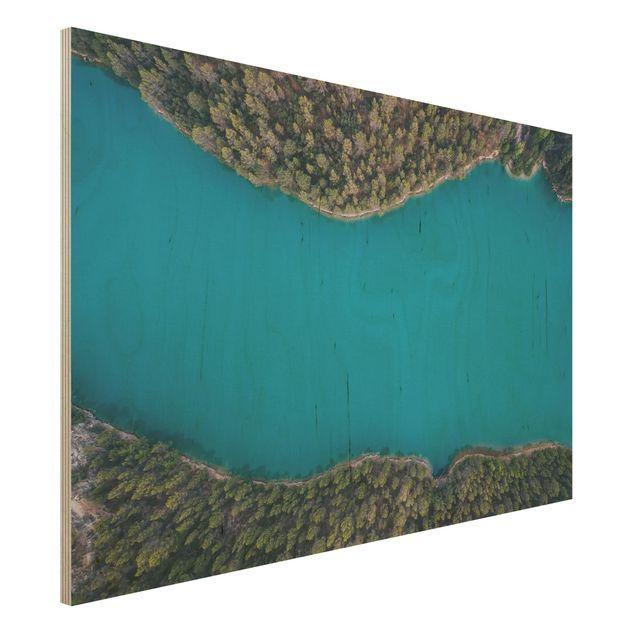 Holzbild - Luftbild - Tiefblauer See - Querformat 2:3