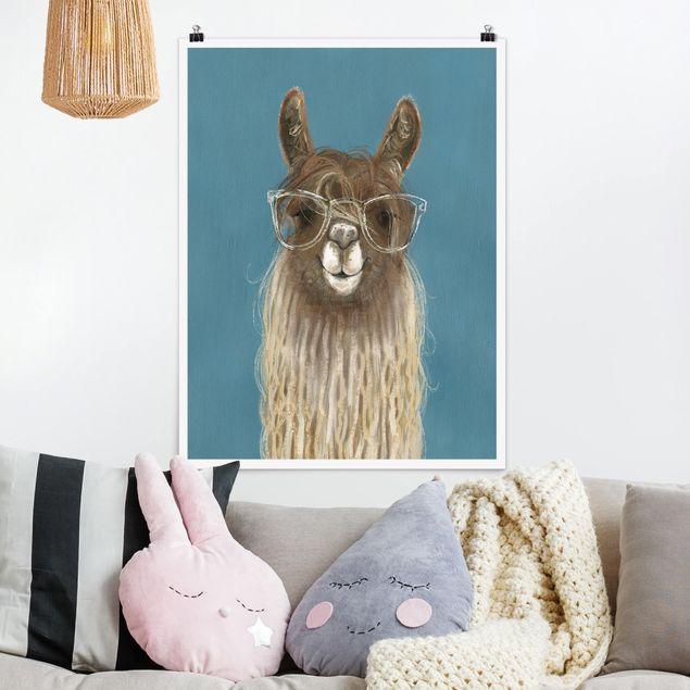Poster - Lama mit Brille III - Hochformat 3:4