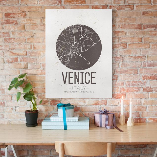 Leinwandbild - Stadtplan Venice - Retro - Hochformat 4:3