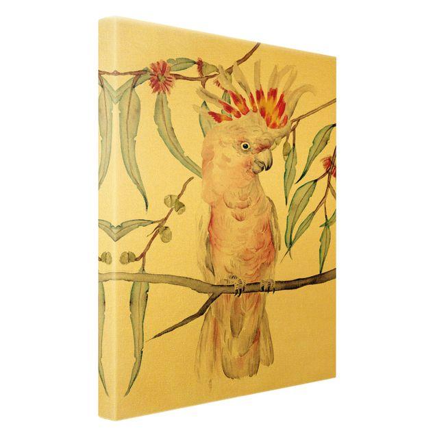 Leinwandbild Gold - Kakadu mit Rosa Federn - Hochformat 2:3