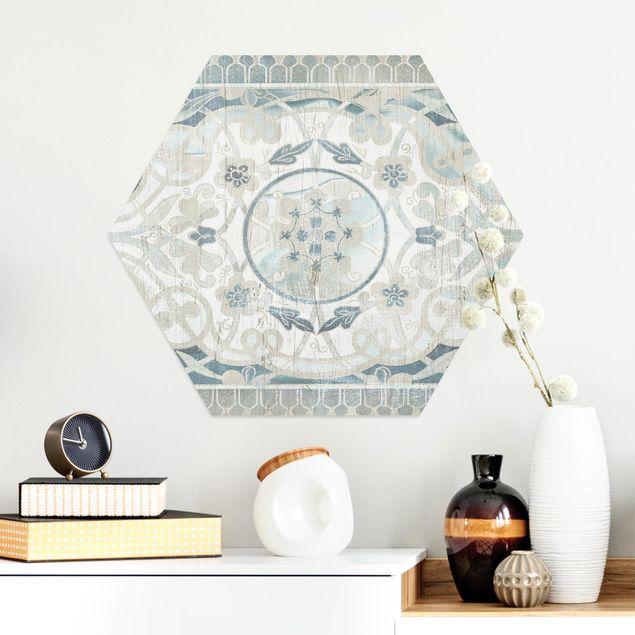 Hexagon Bild Alu-Dibond - Holzpaneel Persisch Vintage I