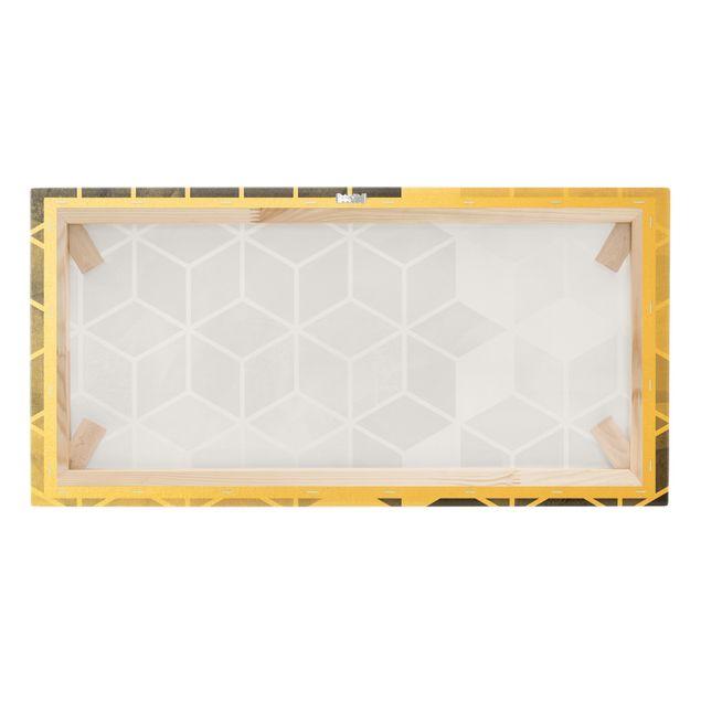 Leinwandbild Gold - Goldene Geometrie - Schwarz Weiß - Querformat 2:1
